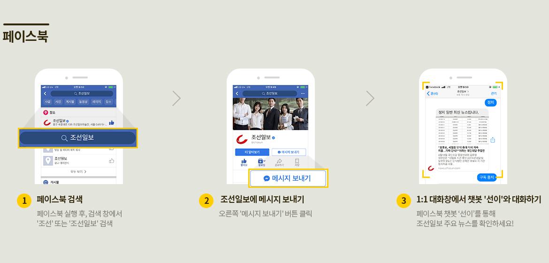 페이스북 - 페이스북 검색창에서 조선일보 검색, 조선일보에 메시지 보내기. 1:1 대화창에서 챗봇 '선이'와 대화하기