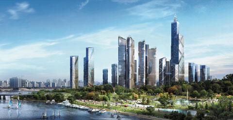 4~5년 뒤면 서울의 스카이라인이 확 바뀐다. 사각 모양의 아파트들로 빽빽이 들어차 있던 한강변이 시원스레 곧게 뻗은 현대식 초고층 건축물들로 채워지기 때문이다. 사진은 2016년 말 준공을 목표로 개발 사업을 진행 중인 용산국제업무단지의 완공 후 모습. / 용산역세권개발㈜ 제공