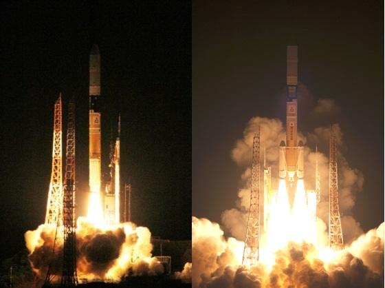 한국항공우주연구원이 18일 공개한 아리랑3호 발사장면(왼쪽)과 일본 항공우주연구개발기구(JAXA)측이 홈페이지에 공개한 발사장면. 오른쪽 사진에는 일장기가 보이는 반면 한국측 사진에는 일장기가 보이지 않는다. JAXA 제공 외