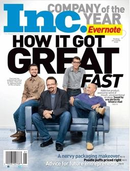 미국 기업전문지 '아이엔씨(Inc)'는 최근 에버노트를 '2011년 최고의 기업'에 선정했다.