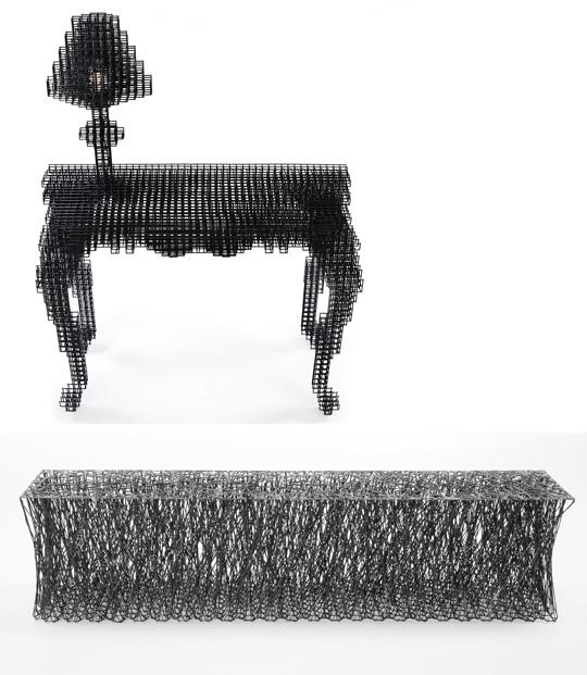 박보미씨의 스틸 테이블'애프터이미지'(사진 위)와 노일훈씨의 탄소섬유 벤치'라무스'.