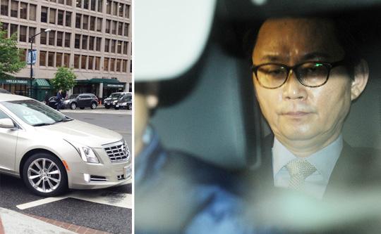 윤창중 전 대변인이 워싱턴 DC에서 이용했던 차(왼쪽 사진). 박근혜 대통령의 미국 방문 기간 중 성추행을 저질렀다는 의혹을 받고 있는 윤창중 전 청와대 대변인이 지난 11일 서울 종로구 부암동 AW컨벤션센터에서 해명 기자회견을 마친 뒤 어딘가로 가기 위해 차량에 탑승해 있다.(오른쪽 사진).