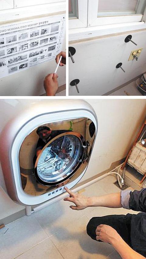 벽걸이 미니 세탁기를 설치하는 과정. (사진 위 왼쪽부터 시계 방향) 세탁기를 설치할 공간을 확인 한 뒤, 나사를 벽에 박고, 세탁기를 설치한다. / 블로그 '모즈모즈 일기장'