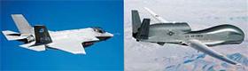 중국 해커들이 설계도를 빼낸 미국의 첨단 무기들. 왼쪽부터 F-35 전투기, 글로벌 호크 무인기. 지난해 10월 시