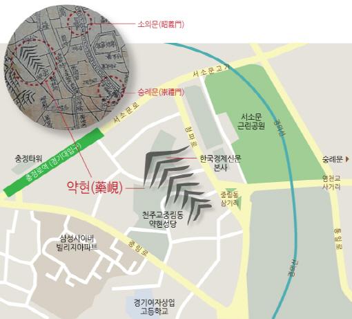 '수선전도(首善全圖)'의 약현과 지금의 중림동 / 그래픽=최지웅 연결지성센터 연구원