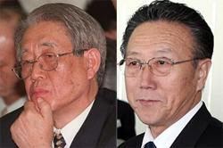 강인덕 전통일부 장관(왼쪽) 김양건 북한 통일전선부장