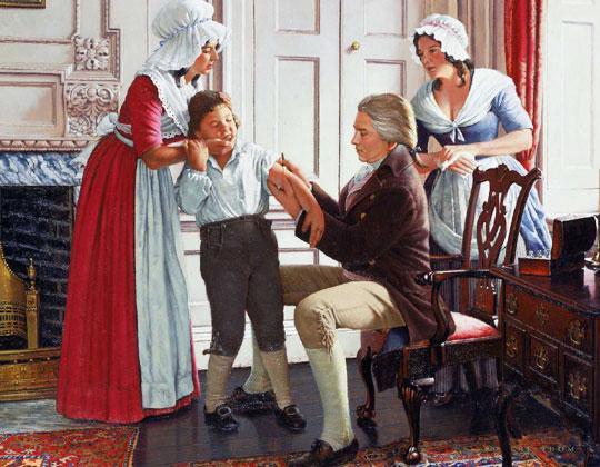 영국 의사 에드워드 제너가 어린이의 팔에 우두를 접종하는 장면.
