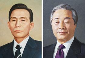 박정희 초상화(왼쪽)와 김영삼 초상화.