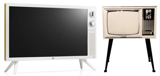 지난 8월 출시된 LG '클래식 TV'(사진 왼쪽)과 1966년 출시된 국내 최초 텔레비전 수상기'VD191' 사진