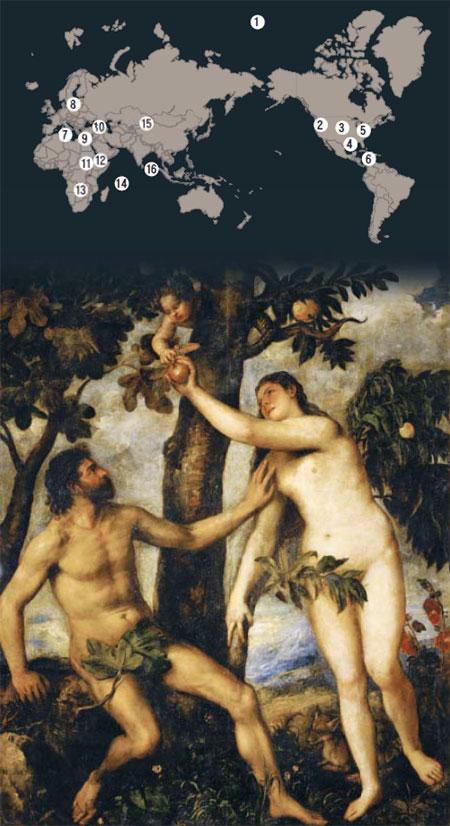 르네상스 시대 이탈리아 화가 티치아노가 그린 에덴동산의'아담과 이브.'이브가 뱀의 유혹에 넘어가는 장면이다.