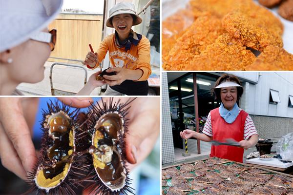 요부코 아침 시장에서는 싱싱한 해산물과, 또 그것을 이용한 음식들을 구매하거나 맛볼 수 있다
