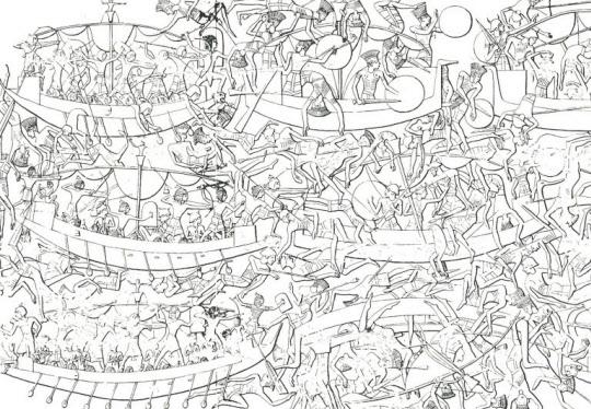 펠레스티(불레셋) 부족을 포함하여 배를 타고 온 해양 부족들이 이짚트 앞 바다에서 이집트 군과 벌인 해전 (기원전 12세기. 메디네트 하부 신전의 벽에 부조되어 있음).  (출처: Trude Dothan, The Philistines and their Material Culture, Jerusalem: IEJ, 1982, fig. 7.)