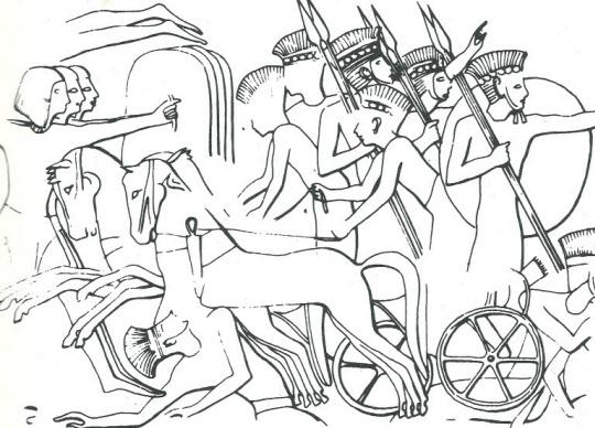 깃털모자를 쓰고 둥근 방패와 창을 들고 마차를 타고 상륙하여 싸우는 펠레스티(불레셋) 군대. 왼쪽에 사각형 방패를 든 이짚트 군사들이 보인다 (기원전 12세기. 메디네트 하부 신전의 벽에 부조되어 있음). (출처: Trude Dothan, 같은 책, fig. 6.)