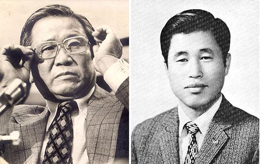김형욱 전 중앙정보부장(왼쪽)과 장용호 YH무역 사장