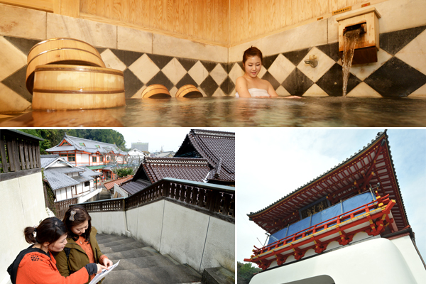 (사진 위) 다케오 온천의 가족탕에서 온천을 즐기고 있는 모습 (사진 아래 왼쪽부터) 다케오 온천, 중요문화재로 지정된 '로몬'.