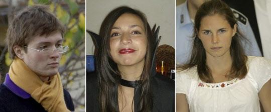 '아만다 녹스' 사건의 주요 인물들. 오른쪽 사진부터 살인피의자 아만다 녹스, 녹스의 룸메이트이자 살인피해자 메러디스 커처, 사건 당시 녹스의 남자친구이자 공범혐의를 받은 라파엘 솔레시토./AP뉴시스
