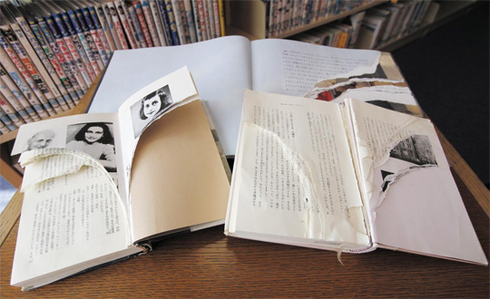 일본 도쿄의 신주쿠도서관에 있던 책 '안네의 일기'가 책장이 찢기는 등 심하게 훼손돼 있다. 다른 도서관에서도 비슷한 사건이 발생했으며 극우 단체의 조직적 소행으로 추정된다