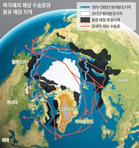 북극해의 해상 수송로와 원유 매장 지역 지도