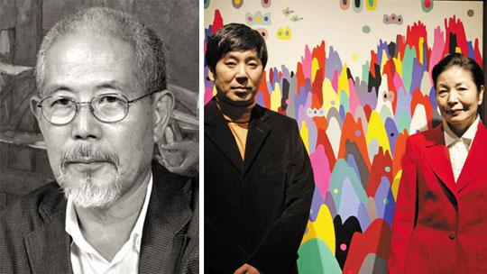 작가 오승윤. (오른쪽 사진)전시장을 찾은 오승윤 화백의 부인 이상실(오른쪽)씨와 아들 병재씨.