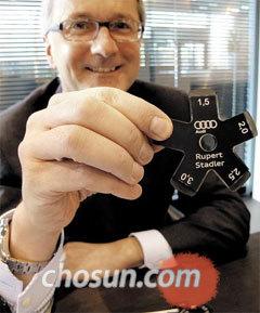 루퍼트 슈타들러 아우디 회장이 자동차 외부 금속 패널 사이의 간격을 재는 도구인'퀄리티 스타'를 보여주고 있다.