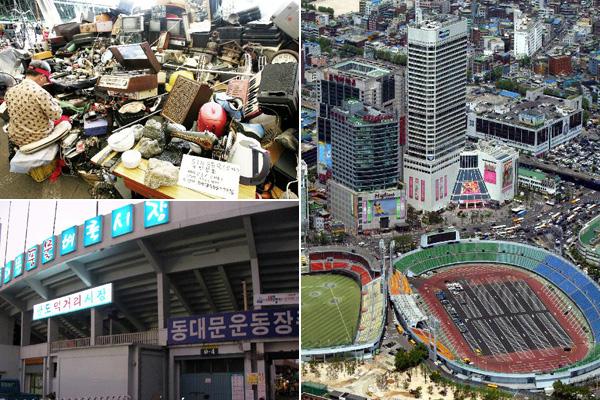 풍물시장(왼쪽)과 주차장(오른쪽)으로 전락해버린 동대문운동장의 모습.