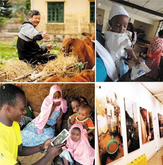 1 지구촌나눔운동으로부터 암소 구입비를 대출받은 한 농민. 2 탄자니아 아동건강관리센터에서 진료를 받는 아동. 3 탄자니아의 한 키퍼가 키퍼애플리케이션을 활용해 아이의 건강상태를 체크하고 있는 모습. 4 채리티워터의 자선 전시회 현장. / 블룸버그 뉴스