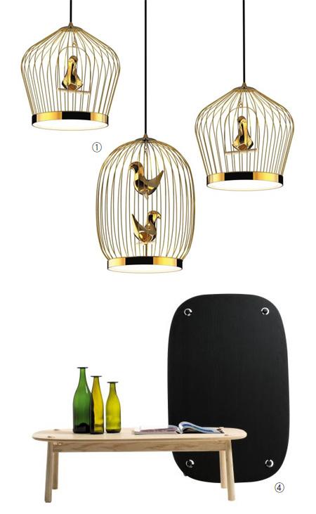① 카나리아가 들어있는 새장처럼 생긴 '카사마니아(Casamania)'의 LED 전등과 '카펠리니(Cappellini)'의 '페그(Peg)' 테이블 사진