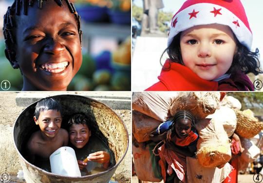 문종성씨가 세계 곳곳을 돌아다니며 찍은 아이들의 모습. ①서아프리카 국가인 부르키나파소에서 만난 과일 노점상 소녀 ②2013년 새해 아제르바이잔과 아르메니아 산악지대에 있는 나고르노-카라바흐 공화국의 한 광장에서 만난 4세 소녀 ③통에 물을 채워놓고 장난을 치는 니카라과 소년들 ④에티오피아 시골마을에서 만난 14세 소녀. 학교에 가지 못하고 시장에서 품을 팔아 하루에 1~2달러를 번다고 했다. /문종성씨 제공