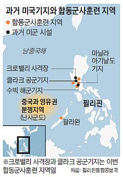 過去の米軍基地との合同軍事訓練地域の地図