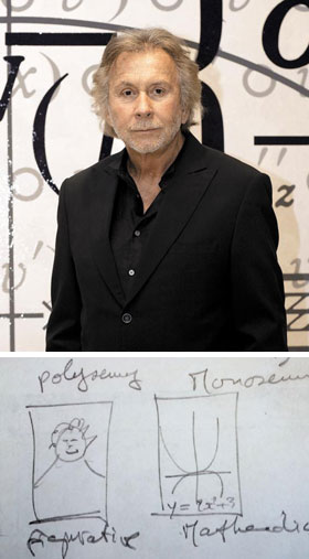 (위 사진)수학 공식을 활용한 작품 앞에 선 브네. (아래 사진)브네가 수학을 미술에 접목한 이유를 설명하려고 직접 그려준 수학 그래프(오른쪽)와 구상화 이미지.