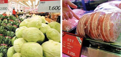 따뜻한 날씨로 채소 출하량이 늘어나면서 채소 값은 폭락한 반면, 돼지유행설사병(PED), 조류인플루엔자, 정부감축정책 등으로 고기 값은 치솟고 있다. 지난 8일 서울의 한 대형마트 채소 코너에 지난해보다 각각 7, 31% 이상 가격이 하락한 시금치와 양배추가 진열돼 있다(왼쪽). 11일 서울의 백화점 정육 코너에서 100g에 2200원을 기록해 호주산 소갈비 값을 뛰어넘은 삼겹살 모습(오른쪽).