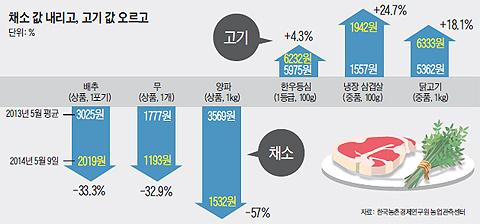 채소와 고기의 가격 변동 그래프