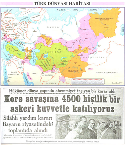 튀르크인들이 사는 세계지도(위)와 6.25 참전기사(아래)/자료=터키교과서