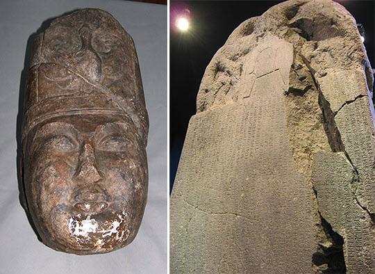 퀼테킨(왼쪽)과 퀼테킨 비문/사진=카자흐스탄 문화정보부