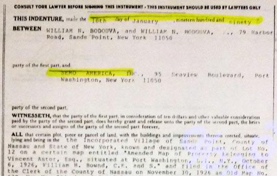 1990년 1월 세모아메리카 명의의 뉴욕 롱아일랜드 포트워싱턴의 저택 매입계약서.
