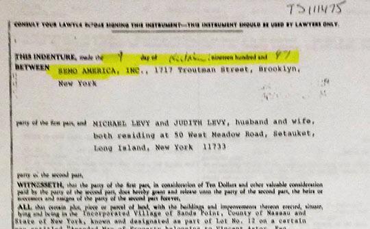 1997년 10월 세모아메리카 명의의 뉴욕 롱아일랜드 포트워싱턴의 저택 매도계약서.