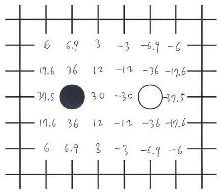 흑돌의 (+) 힘을 상쇄하는 백돌의 (-) 힘.