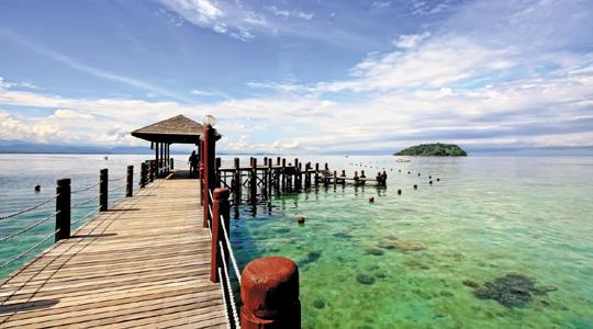 말레이시아 코타키나발루의 대표적 휴양지인 마누칸 섬 전경.