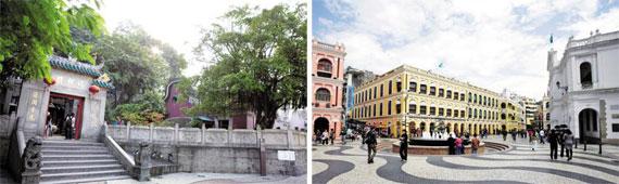 '루트 3'의 명소 아마 사원(왼쪽)과 마카오 제일의 랜드마크인 세나도 광장(오른쪽). / 마카오 관광청 제공