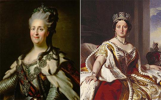 러시아의 예카테리나 대제(왼쪽)와 영국의 빅토리아 여왕.