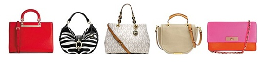 시몬느가 만드는 핸드백 제품들. 왼쪽부터 DKNY, DVF, 마이클 코어스, 마크 제이콥스, 케이트 스페이드.