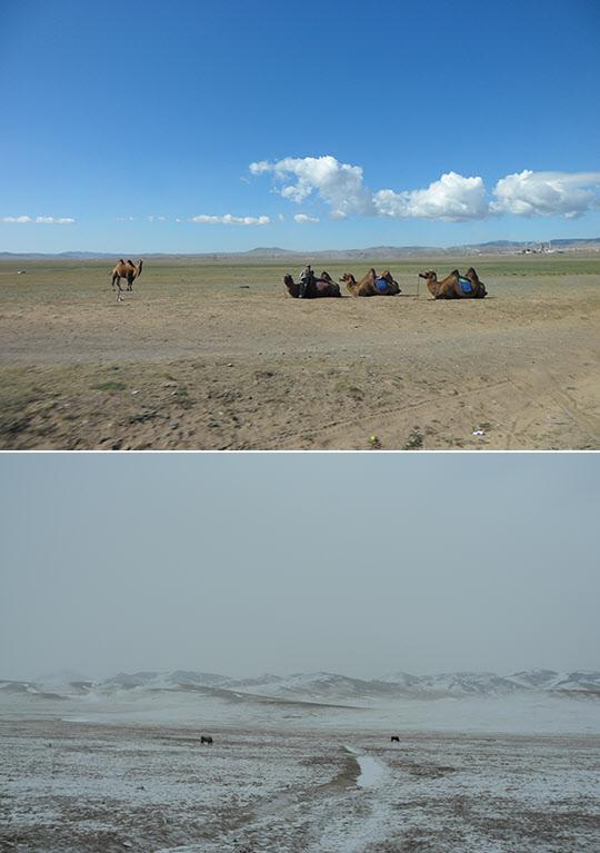몽골고원의 여름(위)과 겨울.