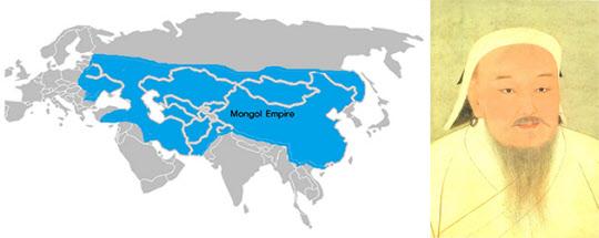 몽골제국 지도(왼쪽)와 칭기스칸.