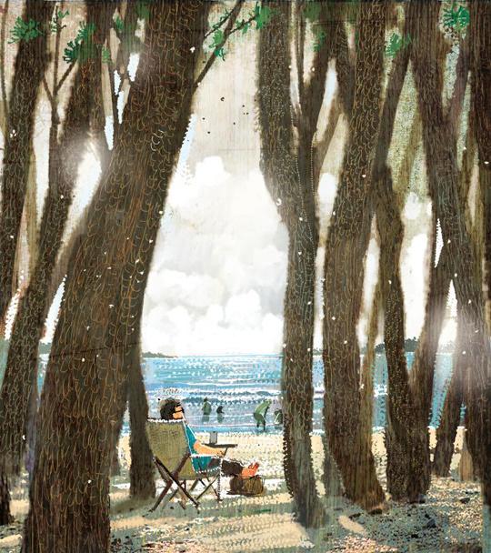 해변 솔 그늘에 접는 안락의자 펴고 한나절 - 프리미엄조선