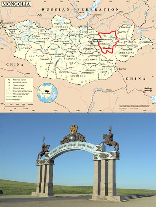몽골지도(위)와 칭기스칸시 입구(아래). 붉은색으로 표시한 부분이 헨티주다.