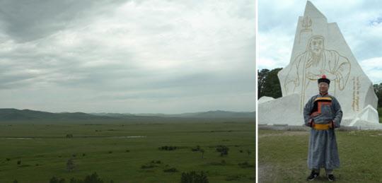 자무카와 대결했던 달란 발주트 평원(왼쪽)과 다달솜, 칭기스칸 비석 앞의 필자.
