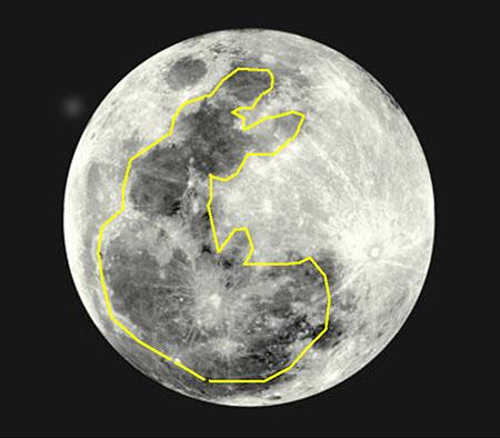 달 표면의 방아를 찧는 토끼.