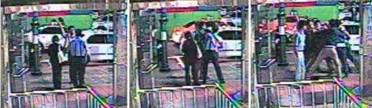 17일 새벽 서울 영등포구 여의도동에서 세월호 유가족들과 대리운전 기사 사이에서 벌어진 몸싸움이 인근 건물 CCTV에 찍혔다. 이날 0시 41분쯤 세월호 유가족 1명과 대리기사가 대치하다(왼쪽) 삿대질을 하며 말다툼을 벌이고 있다(가운데). 왼쪽에 선 검은정장 여성은 김현 새정치민주연합 의원으로 추정된다. 0시 48분쯤 유가족과 대리기사, 목격자 등이 한데 엉켜 몸싸움하고 있다(오른쪽). /CCTV캡처