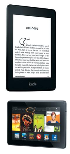 킨들 5세대 버전인 페이퍼 화이트(위)와 컬러 버전인 킨들파이어.
