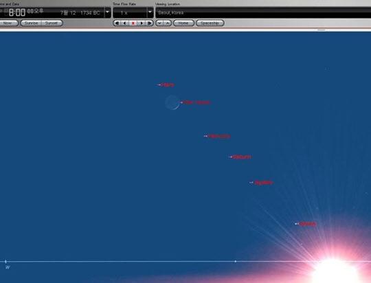 천문 소프트웨어 'Starry Night'이 보여주는 BC 1734년 7월 12일 오성취루.